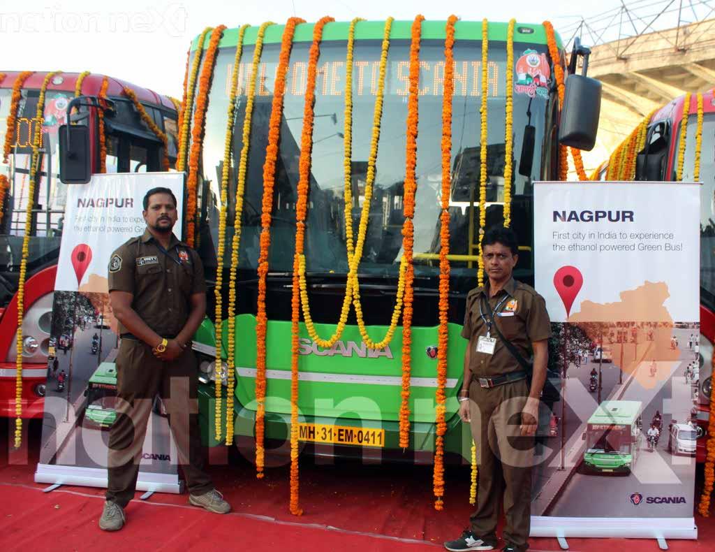Devendra Fadnavis and Nitin Gadkari launch India's first green bus service in Nagpur