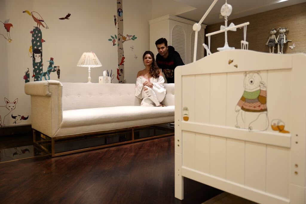 Filmmaker Karan Johar on Wednesday took his twins Roohi and Yash home to a specially designed baby nursery by none other than his best friend Gauri Khan.