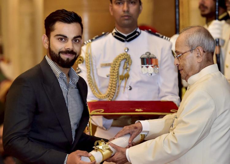 Virat Kohli was yesterday bestowed with Padma Shri at the hands of honourable President Pranab Mukherjee at Rashtrapati Bhawan.
