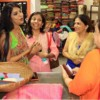 Shailaja Prasad interacting with her guests during the 19th anniversary of Rag's Boutique at Ramnagar, Nagpur