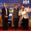 Ajay Sancheti, Atul Pande, Nitin Gadkari, Viren Thakkar and Satyanarayan Nuwal during VIA's 54th Foundation Day at Hotel Centre Point, Nagpur