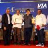 Ajay Sancheti, Atul Pande, Sachin Chaknalwar, Nitin Gadkari, Amol Chaknalwar and Satyanarayan Nuwal during VIA's 54th Foundation Day at Hotel Centre Point, Nagpur