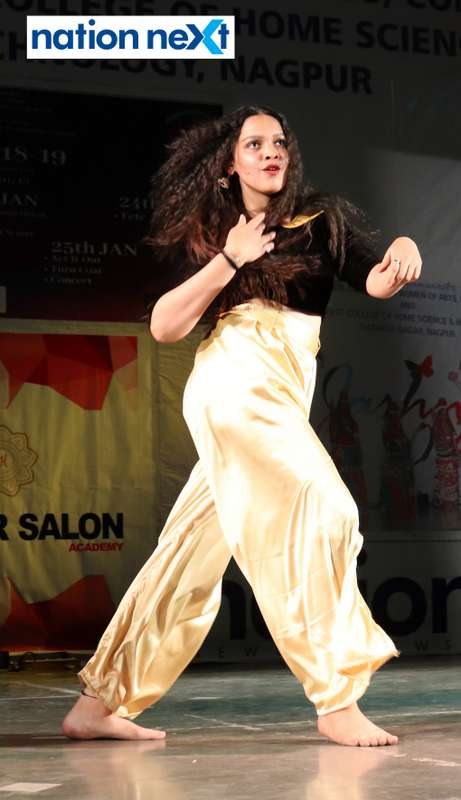 Khushboo Sonkusre during her performance at LAD College's cultural fest 'Aura' held in Nagpur
