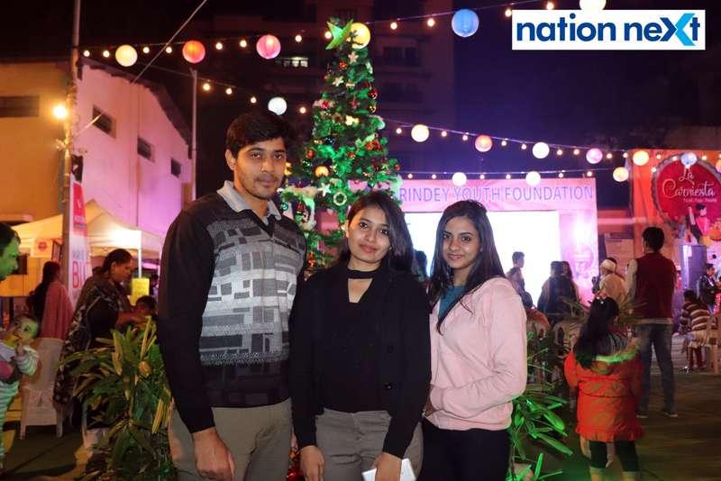 Rishikesh, Ankita and Preety Kedar at the La Carniesta flea market organised by Parindey Youth Foundation in Nagpur