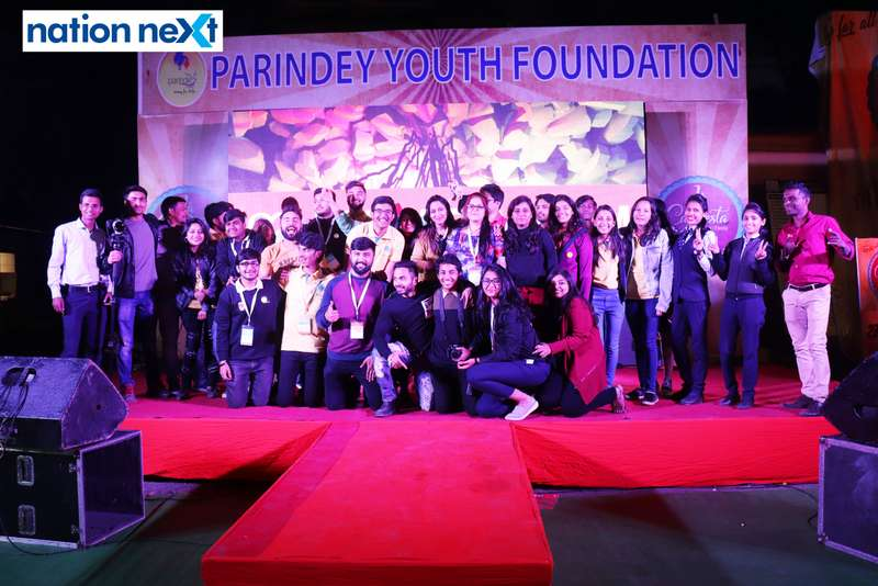 Parindey Youth Foundation members pose for a picture at the La Carniesta flea market organised by Parindey Youth Foundation in Nagpur