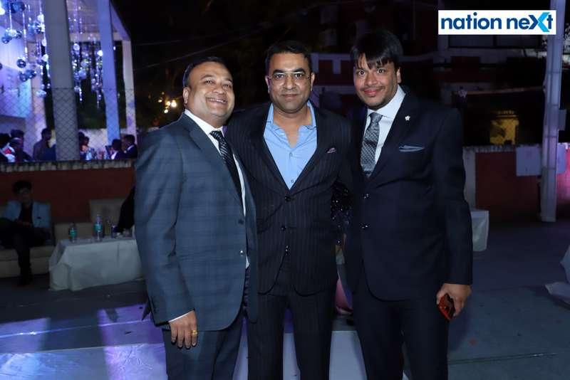 Amit Parikh, Sameer Meghe and Ashish Khemuka during the 2019 New Year bash held at Gondwana Club in Nagpur