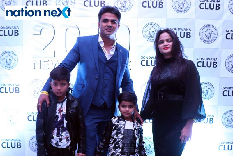 Rajesh and Megha Thakur with their kids during the 2019 New Year bash held at Gondwana Club in Nagpur
