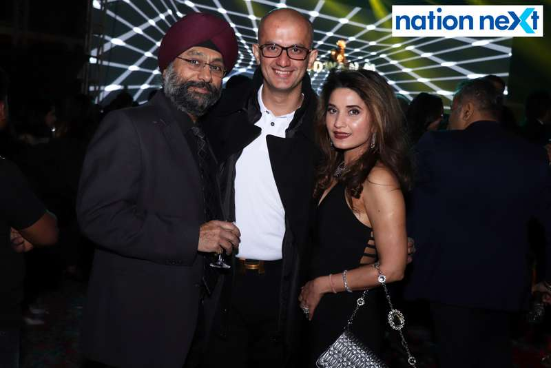 Rohan and Rinky Jagdale with their friend during the 2019 New Year bash held at Gondwana Club in Nagpur