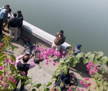 NAGPUR: Tension prevailed at Futala Lake today morning when a couple's dead bodies, with hands tied to each other, were found floating.