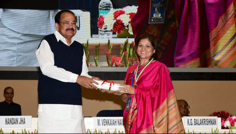 Vice President of India M Venkaiah Naidu recently awarded Nagpur based social activist and wedding planner - Manisha Malu Verma.