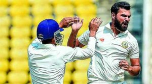 Vidarbha bowler Aditya Sarvate (right) celebrates with Akshay Wadkar (left) after getting a Saurashtra wicket on Day 2 of the Ranji Trophy final in Nagpur.