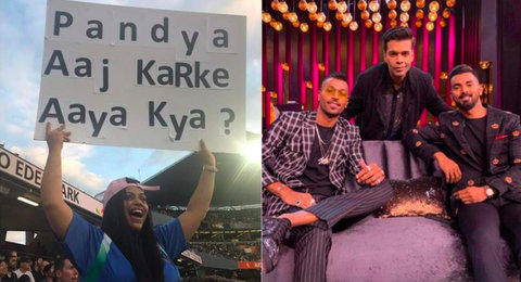 "Just when Hardik Pandya made a comeback after two matches, woman spectator in New Zealand held a banner that read, ""Pandya aaj karke aaya kya?"""