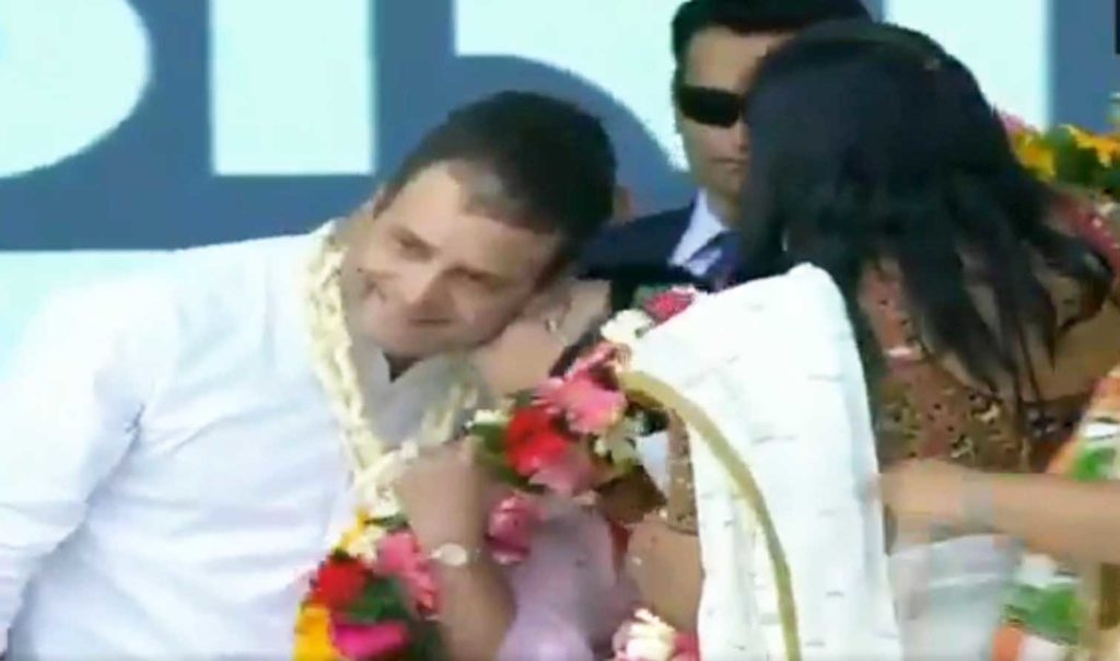 Rahul Gandhi, who's been holding rallies across India in run-up to 2019 elections, received a Valentine's Day gift during one such rally in Valsad, Gujarat.