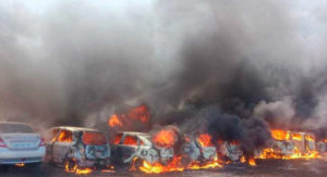 Three hundred cars in parking area were gutted in fire at Aero India show in Bengaluru on Saturday afternoon. However, no casualties are reported.