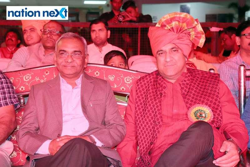 Dilip Peshwe and Principal VM Nanoti during PIET's cultural fest Saptrang 19' in Nagpur