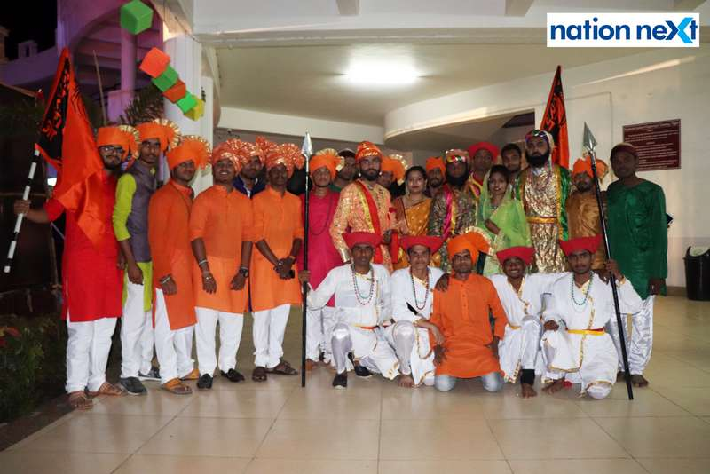 Students after their drama based on Chhtrapati Shivaji Maharaj during PIET's cultural fest Saptrang 19' in Nagpur