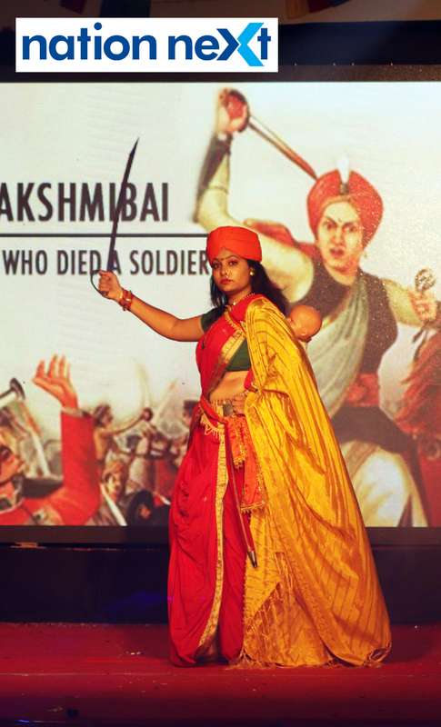 A student walks the ramp as Rani Lakshmibai during PIET's cultural fest 'Saptrang' in Nagpur