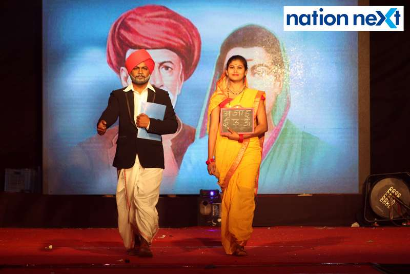 Students walk the ramp as Mahatma Phule and Savitribai Phule during PIET's cultural fest 'Saptrang' in Nagpur