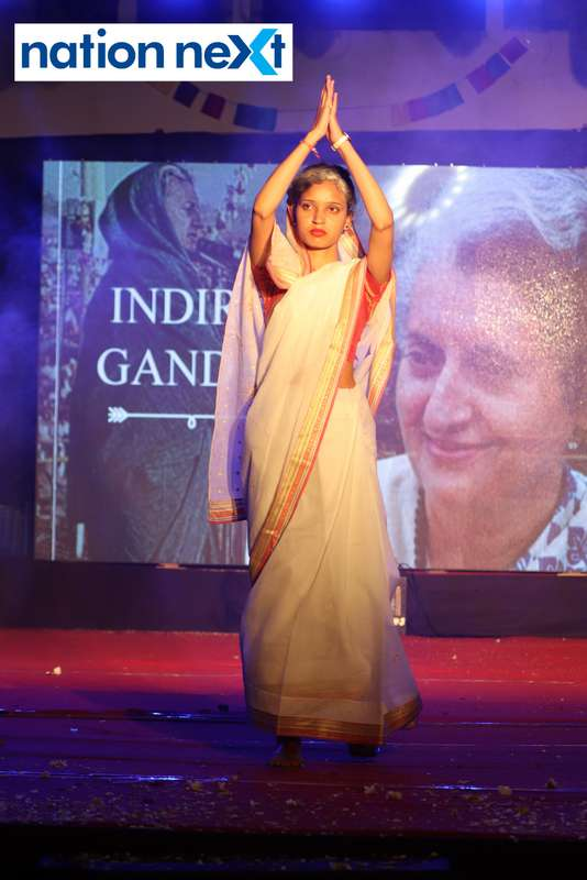 A student walks the ramp as former PM Indira Gandhi during PIET's cultural fest 'Saptrang' in Nagpur