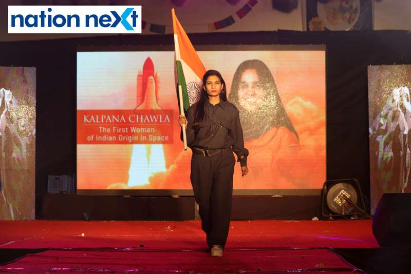 A student walks the ramp as Indian-origin astronaut Kalpana Chawla during PIET's cultural fest 'Saptrang' in Nagpur