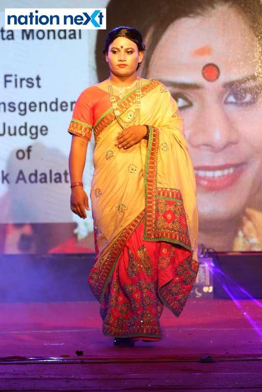 A student walks the ramp as transgender activist Joyita Mondal during PIET's cultural fest 'Saptrang' in Nagpur