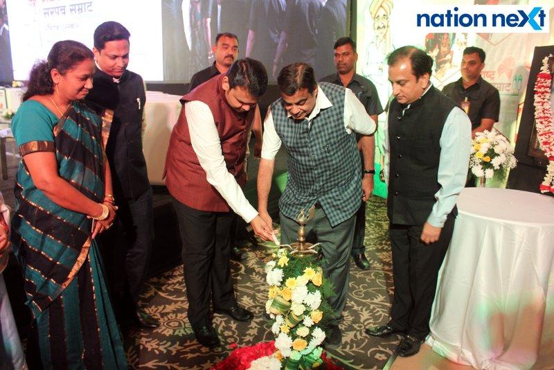 Maharashtra CM Devendra Fadnavis and Union Minister Nitin Gadkari during Navrashtra Sarpanch Samrat and Agritech Award ceremony in Nagpur