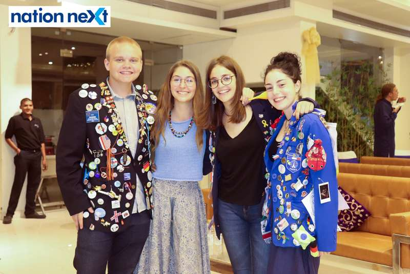 Alexander Paul Huber, Virginia Arcas Bolinches, Nuria Drugvet Quintana and Celyna Elodie Loraine Leconte at the farewell function of Rotary Youth Exchange students held in Nagpur