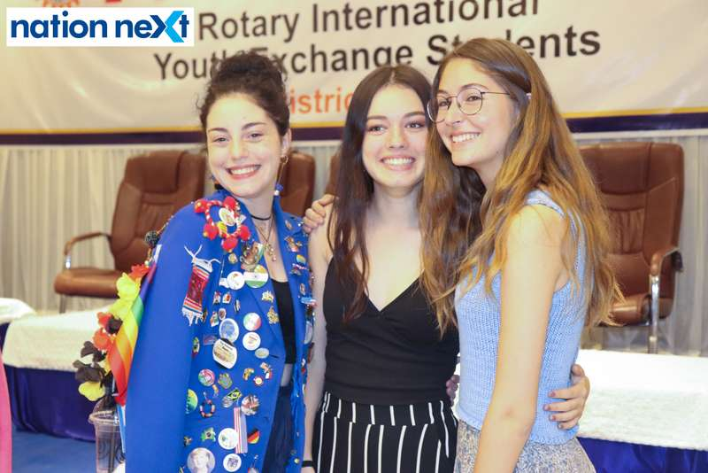 Celyna Elodie Loraine Leconte, Octaive Leforestier and Virginia Arcas Bolinches at the farewell function of Rotary Youth Exchange students held in Nagpur