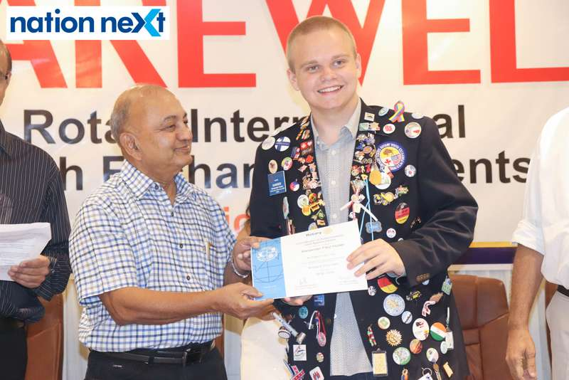Dr Prafull Mokadam and Alexander Paul Huber at the farewell function of Rotary Youth Exchange students held in Nagpur