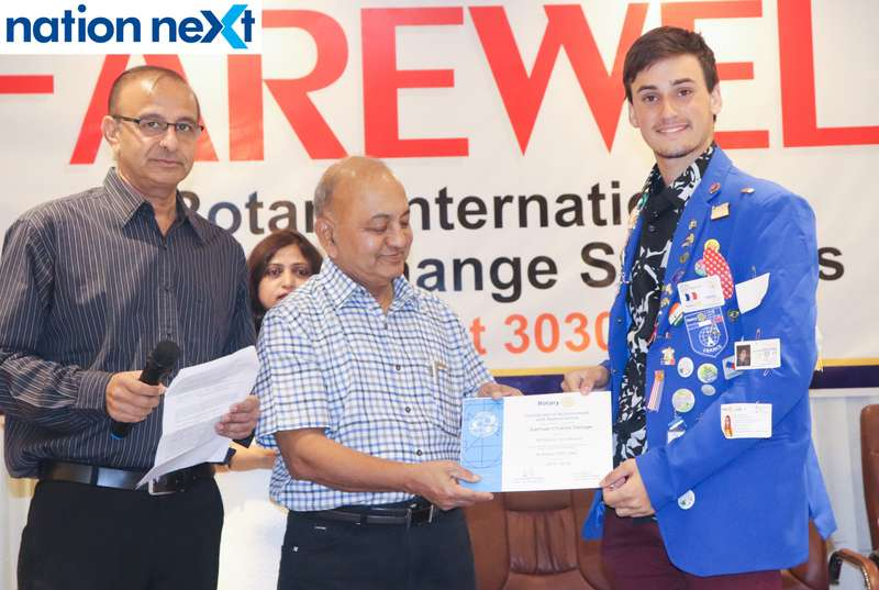 Dr Prafull Mokadam and Samuel Charlie Deloge at the farewell function of Rotary Youth Exchange students held in Nagpur
