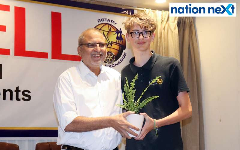 Madhu Rughwani and Jan Johannbon at the farewell function of Rotary Youth Exchange students held in Nagpur