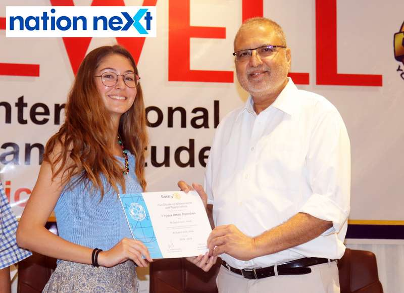 Virginia Arcas Bolinches and Madhu Rughwani at the farewell function of Rotary Youth Exchange students held in Nagpur