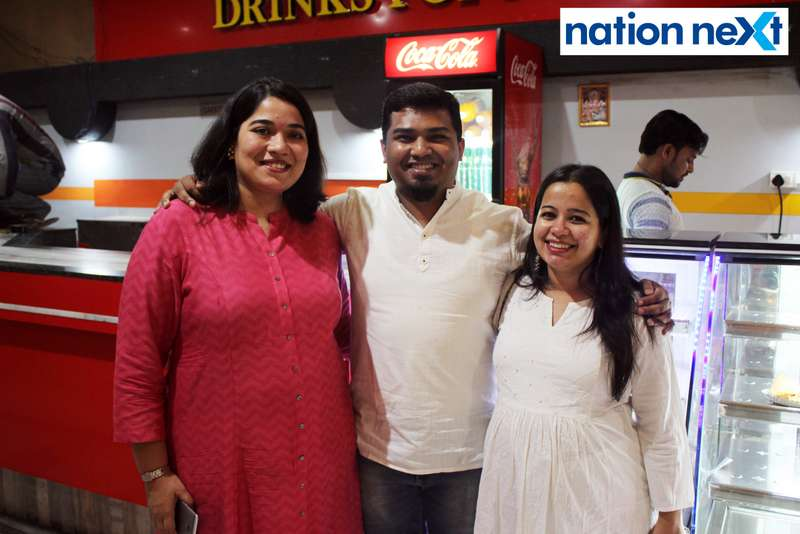 Renuka and Ankit Sawalkar with Dakshaja Buty during the inauguration of Buty Cineplex in Nagpur