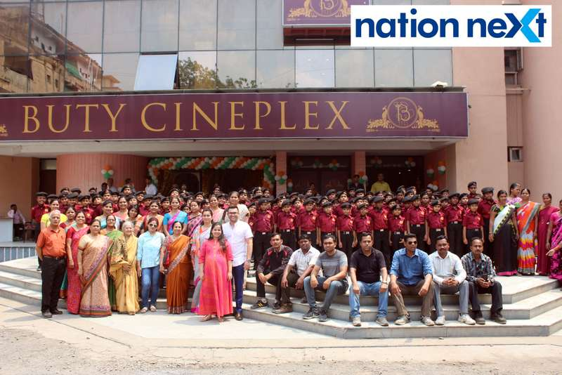 Prahar Vidyalaya students during the Holi special screening of 'Uri: The Surgical Strike' at Buty Cineplex in Nagpur