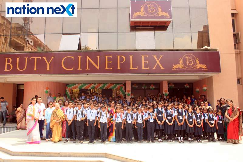Buty Public School students Rohit and Dakshaja Buty during the Holi special screening of 'Uri: The Surgical Strike' at Buty Cineplex in Nagpur