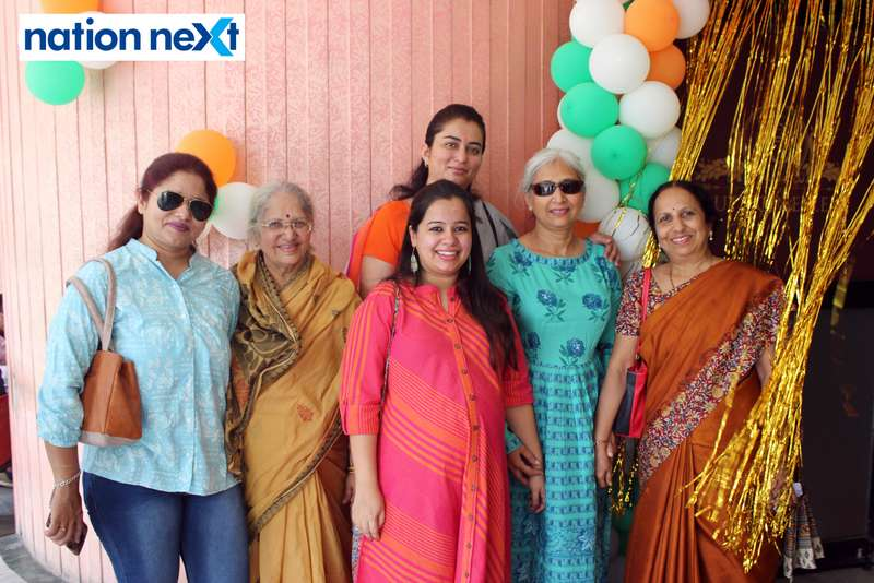 Flight Lt. Shiwalee Deshpande (Rtd), Dakshaja Buty and Preeti Buty Shandilya with other guests during the Holi special screening of 'Uri: The Surgical Strike' at Buty Cineplex in Nagpur