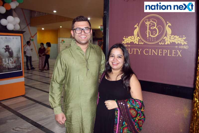 Rohit and Dakshaja Buty during the Holi special screening of 'Uri: The Surgical Strike' at Buty Cineplex in Nagpur
