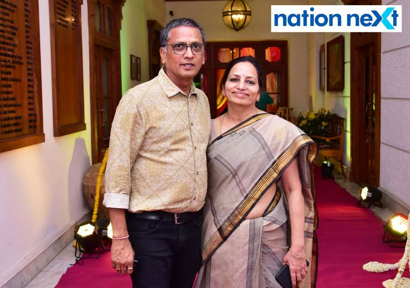 Naval and Sudha Jhawar during Gondwana Club's Holi party in Nagpur