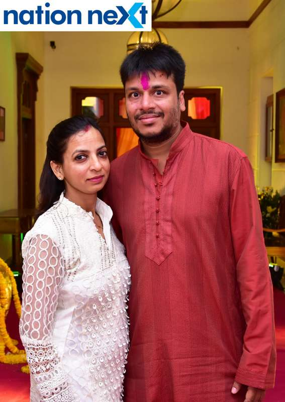 Rakhee and Ashish Khemuka during Gondwana Club's Holi party in Nagpur