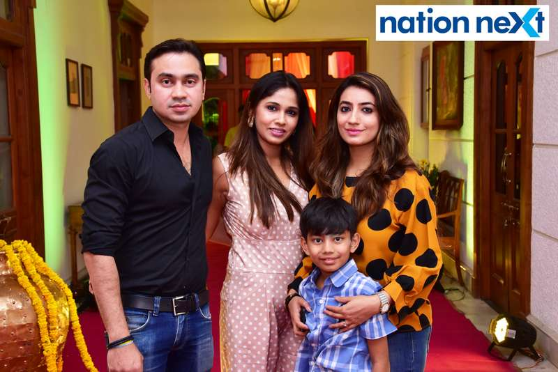 Saurabh, Jivika and Aditi Rai during Gondwana Club's Holi party in Nagpur