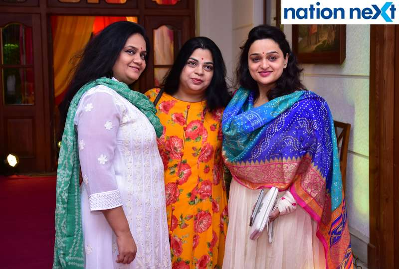 Sunila Jog, Poonam Bansod and Rutumbara Muttemwar during Gondwana Club's Holi party in Nagpur