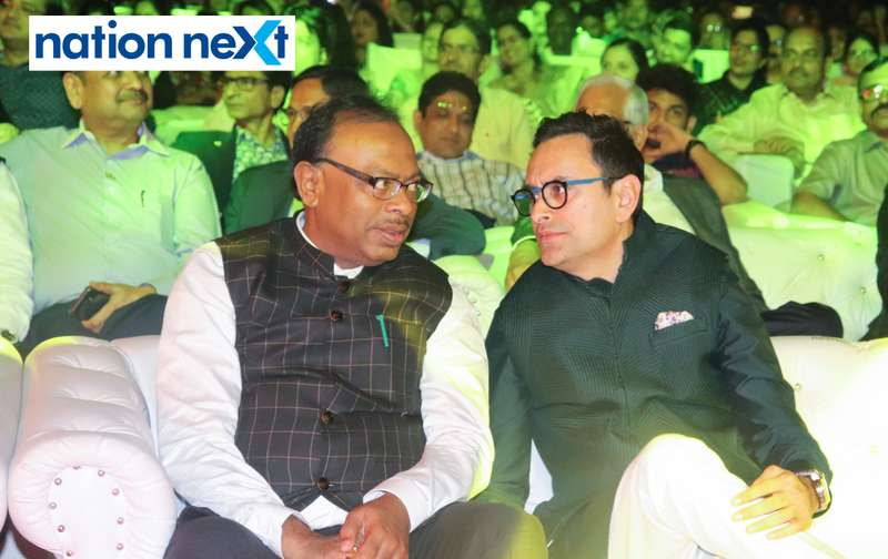 Guardian Minister Chandrashekhar Bawankule and Devendra Darda at Sur Jyotsna National Music Awards 2019 held in Nagpur