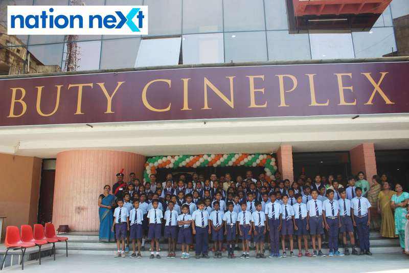 School students during the inauguration of Buty Cineplex in Nagpur
