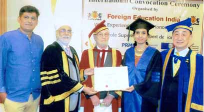 Nagpur's Dr Kavita Chandak was conferred with an Honorary Doctorate by a French University at a convocation ceremony held in Thailand's capital Bangkok.