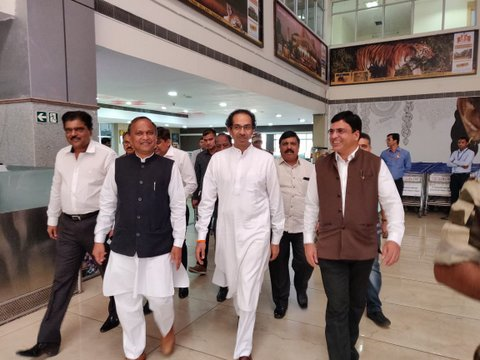Shiv Sena chief Uddhav Thackeray arrived in Nagpur on Friday afternoon for series of joint poll meetings of select party men with CM Devendra Fadnavis.