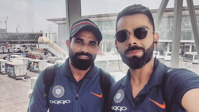 Team India captain Virat Kohli arrived in Nagpur along with his teammates for the upcoming second ODI against Australia today afternoon.