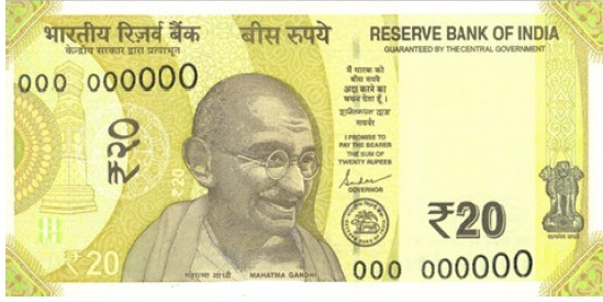 Reserve Bank of India will soon be issue 'greenish yellow' coloured Rs 20 banknotes in Mahatma Gandhi series, bearing signature of Governor Shaktikanta Das.