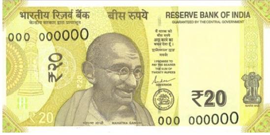 Reserve Bank of India will soon be issue 'greenish yellow' coloured Rs 20 banknotes in Mahatma Gandhi series, bearing signature of Governor Shaktikanta Das.