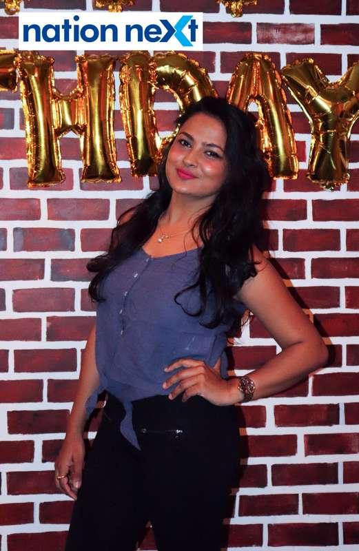 Emcee Aditi Yedlawar during Farhan Kazi's birthday party in Nagpur