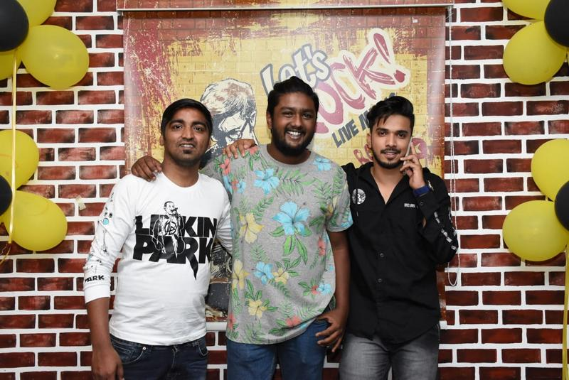 Amar Jajoo (Nation Next's Assistant Editor and well-known emcee), Ronald and Emcee Farhan Kazi during Farhan's birthday party in Nagpur